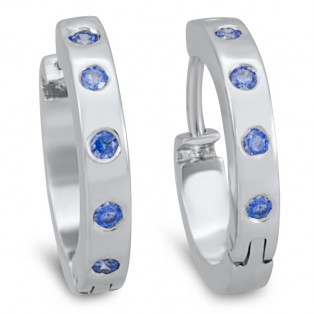 Blue Sapphire Swarovski Zirconia Full Hoop Earrings