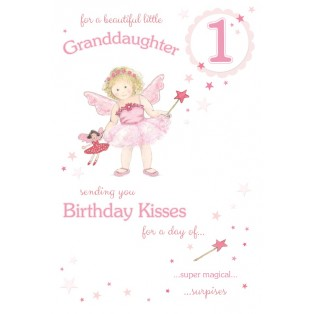 Beautiful Granddaughter Age 1 ~ Large Luxury 1st Birthday Card