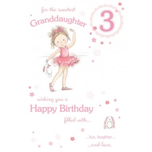 Sweetest Granddaughter Age 3 ~ Large Luxury 3rd Birthday Card