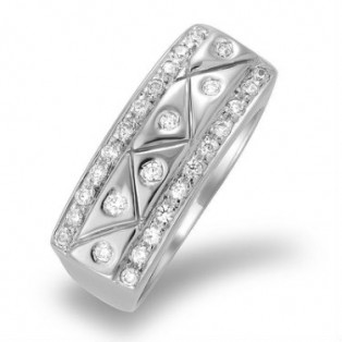 Monisha London Silky Lines Silver Ring