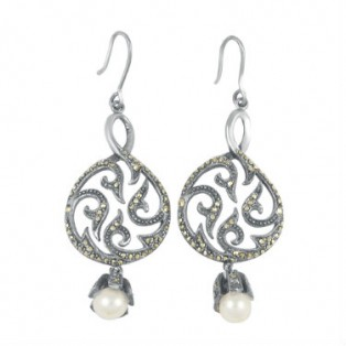 Round Vintage Marcasite Drop Earrings