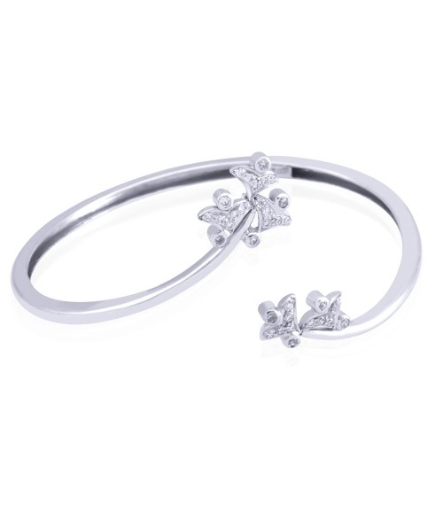 Quadrangular Sterling Silver Swarovski Zirconia Bangle