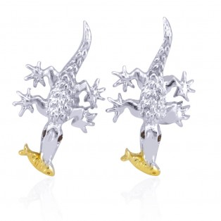 Crocodile with Gold Fish Swarovski Zirconia Cufflinks