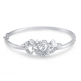 Floral Sterling Silver Swarovski Zirconia Bangle