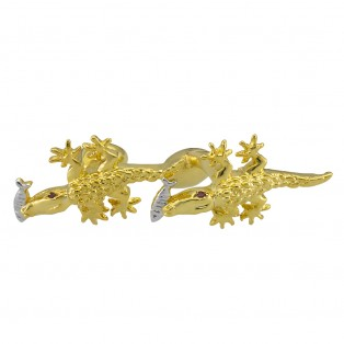 Crocodile with Silver Fish Cufflinks