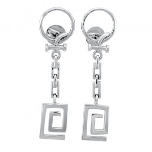 Sterling Silver Art Deco Drop Earrings
