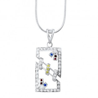 Colourful Swarovski Zirconia Rectangle Pendant