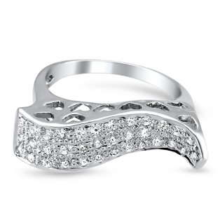 Sterling Silver White Swarovski Zirconia Wave Ring