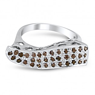 Brown Swarovski Zirconia Wave Ring