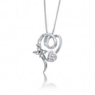 Swarovski Zirconia Heart With Butterfly Pendant