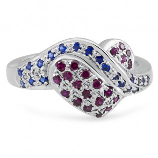 Sterling Silver Dark Ruby Heart  Ring