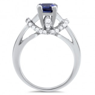Monisha London Silver Blue Zircon Ring