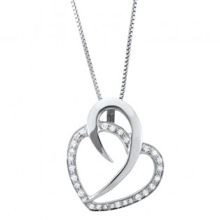 Sterling Silver Rock of Solid Love Swarovski Zirconia Heart Pendant
