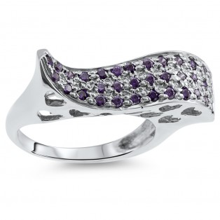 Sterling Silver Amethyst Wave Ring