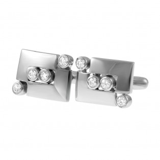 Classic Sparkle Sterling Silver Cufflinks