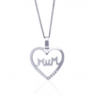 "Gorgeous ""Mum"" Swarovski Zirconia set Sterling Silver Family Heart Pendant"
