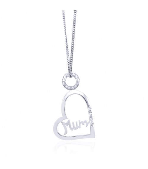 Sterling Silver Mum Heart Pendant