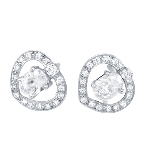 Sterling Silver Heart Swarovski Zirconia Stud Earrings