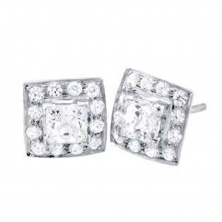 Sterling Silver Bright Light Square Studs