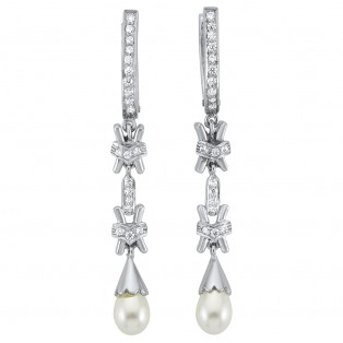 Single Fresh Water Cultured Pearl Drop Earrings
