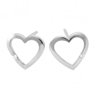 Sterling Silver Sweet Heart Swarovski Zirconia Stud Earrings