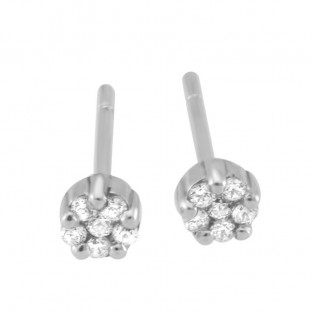 Sterling Silver Bezel Small Stud Earrings