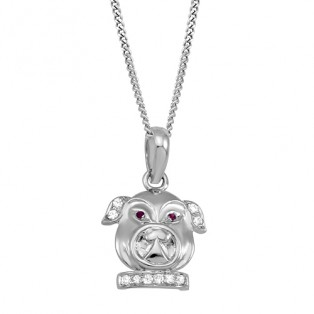 Sterling Silver Dog Pendant & Chain Created with Swarovski Zirconia