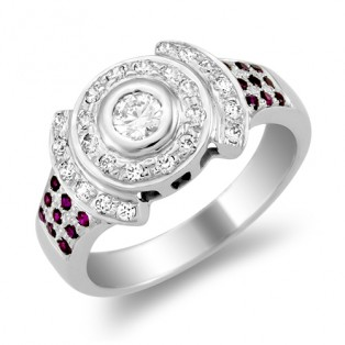 Monisha London Swarovski Zirconia Dark Ruby Ring