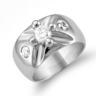 Cross Round Solitaire Sterling Silver Ring