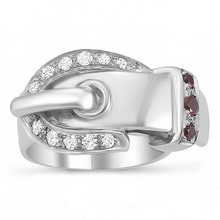 Sterling Silver Buckle Up Ring