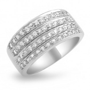 Sequence Sterling Silver Band Swarovski Zirconia Ring
