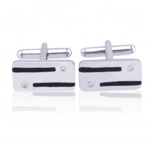 Black Enamelled Sterling Silver Cufflinks